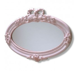 Pink / White Oval Garden Mirror
