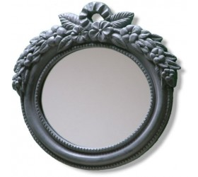 Graphite Oval Garden Mirror
