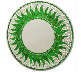 Circular mosaic green Wall Mirror