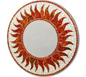 Stunning Shades of Red Round Sun Pattern Mosaic Mirror | Design GF006