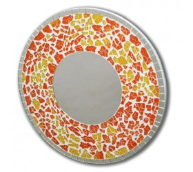 Circular mosaic yellow and red Wall Mirror
