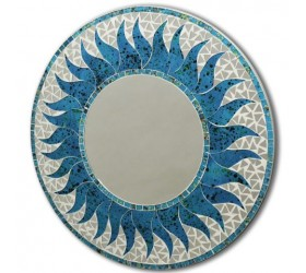 Round blue mosaic Wall Mirror