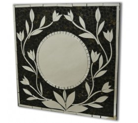 Square black mosaic floral Wall Mirror