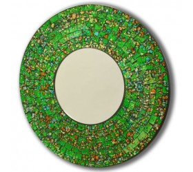 Round Green mosaic Wall Mirror