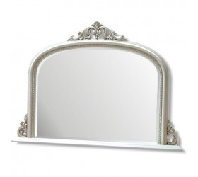 White decorative Overmantle Wall Mirror