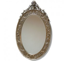 Ornate Oval Silver Framed Mirror