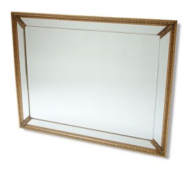 Frameless Mirror with Gold Features
