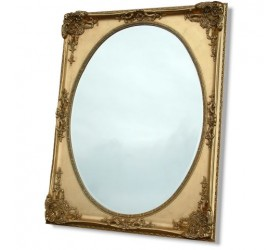 Large Gold Oval Framed Mirror