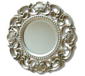 Silver Round Ornate Mirror